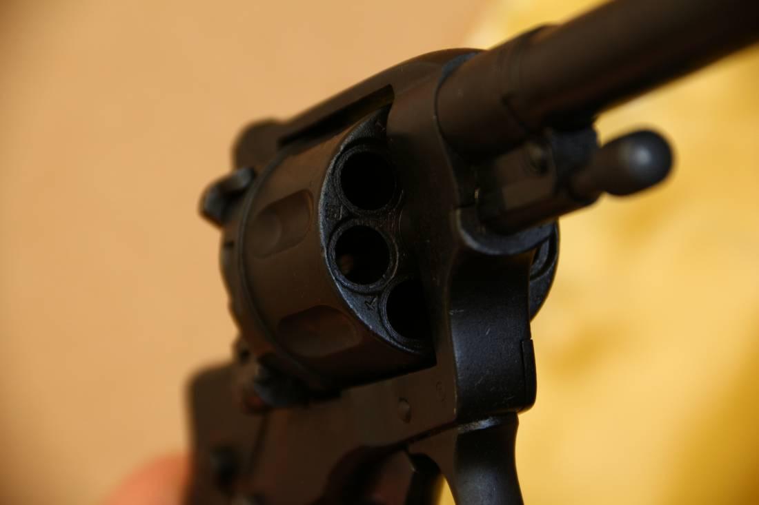 Фото Охолощенный царский револьвер Наган 1914 года, №1063