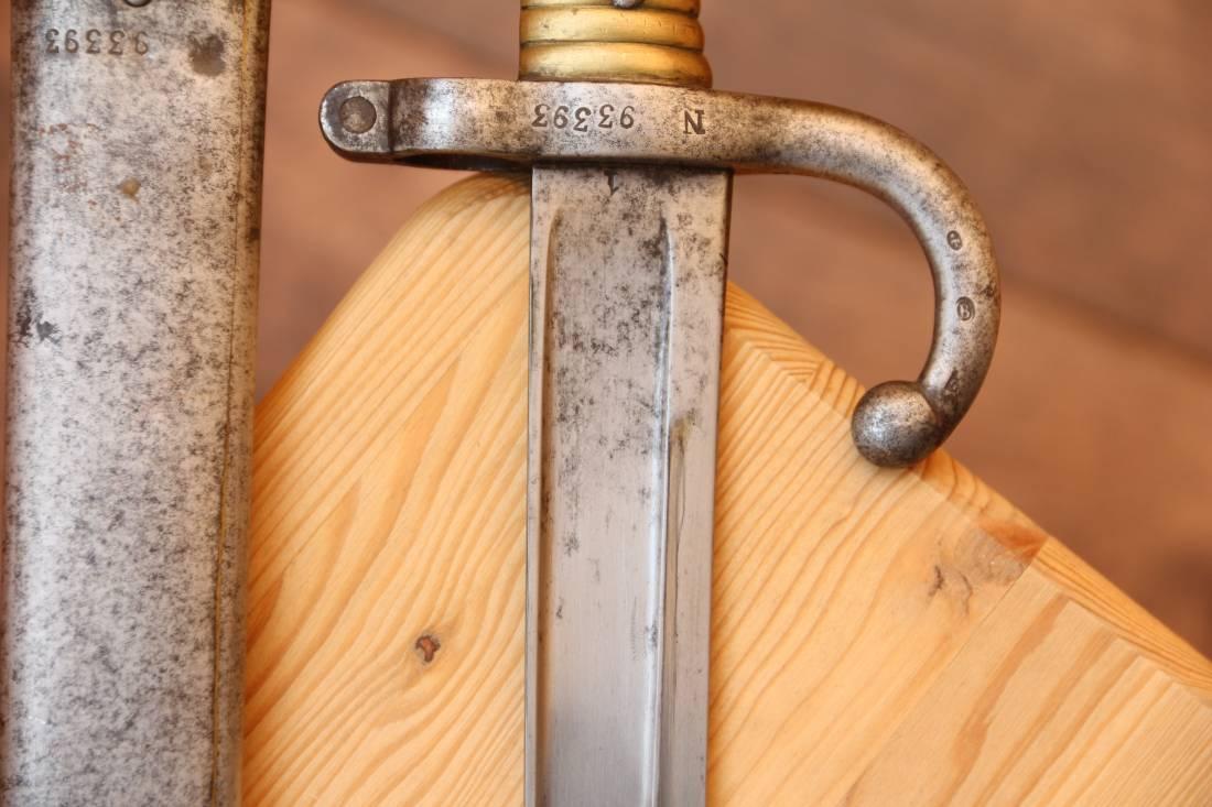 Фото Штык-нож к французской винтовке Шасспо, парный, отличный сохран