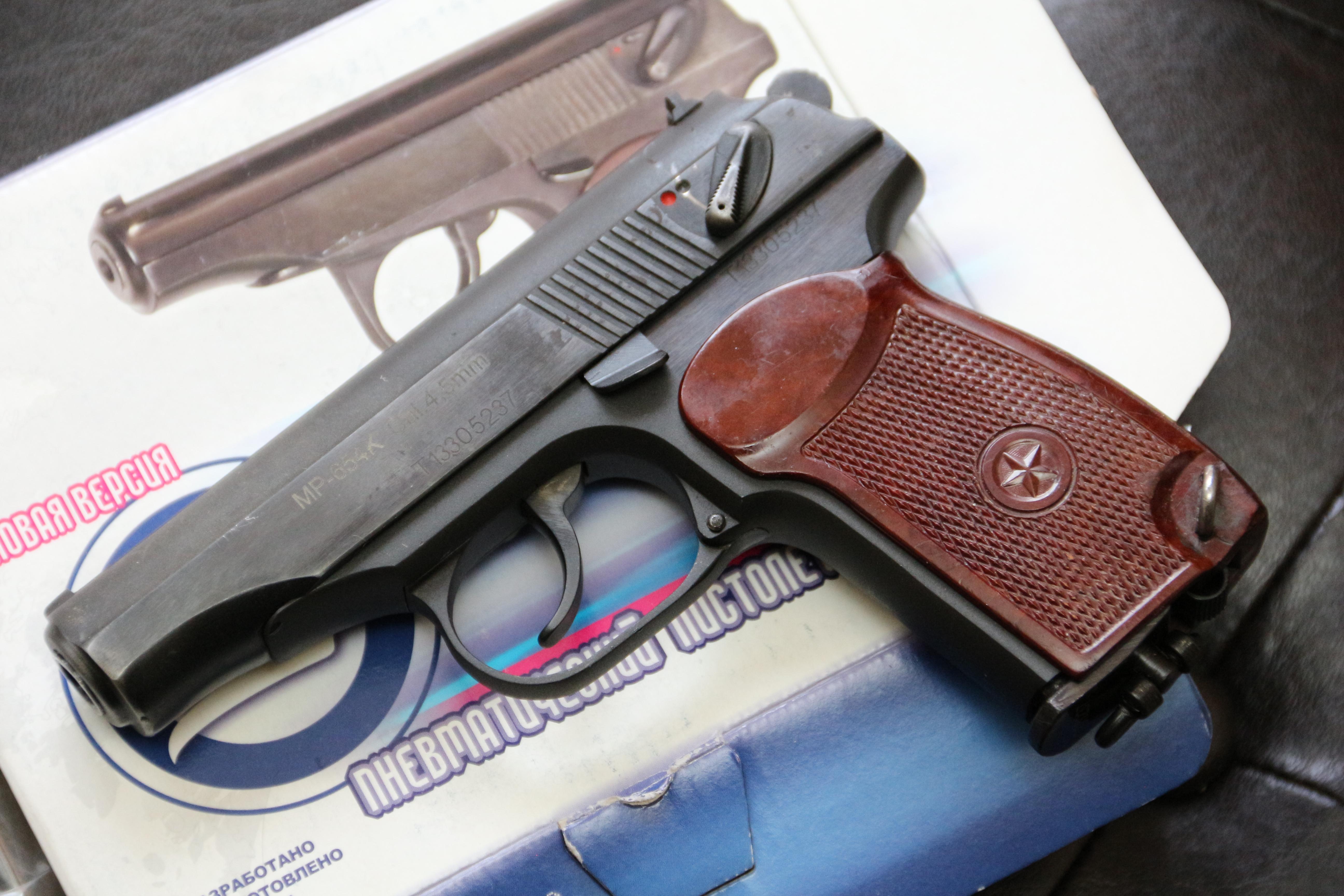 Фото Пневматический пистолет Макарова мр-654к, на прямой рамке, новый