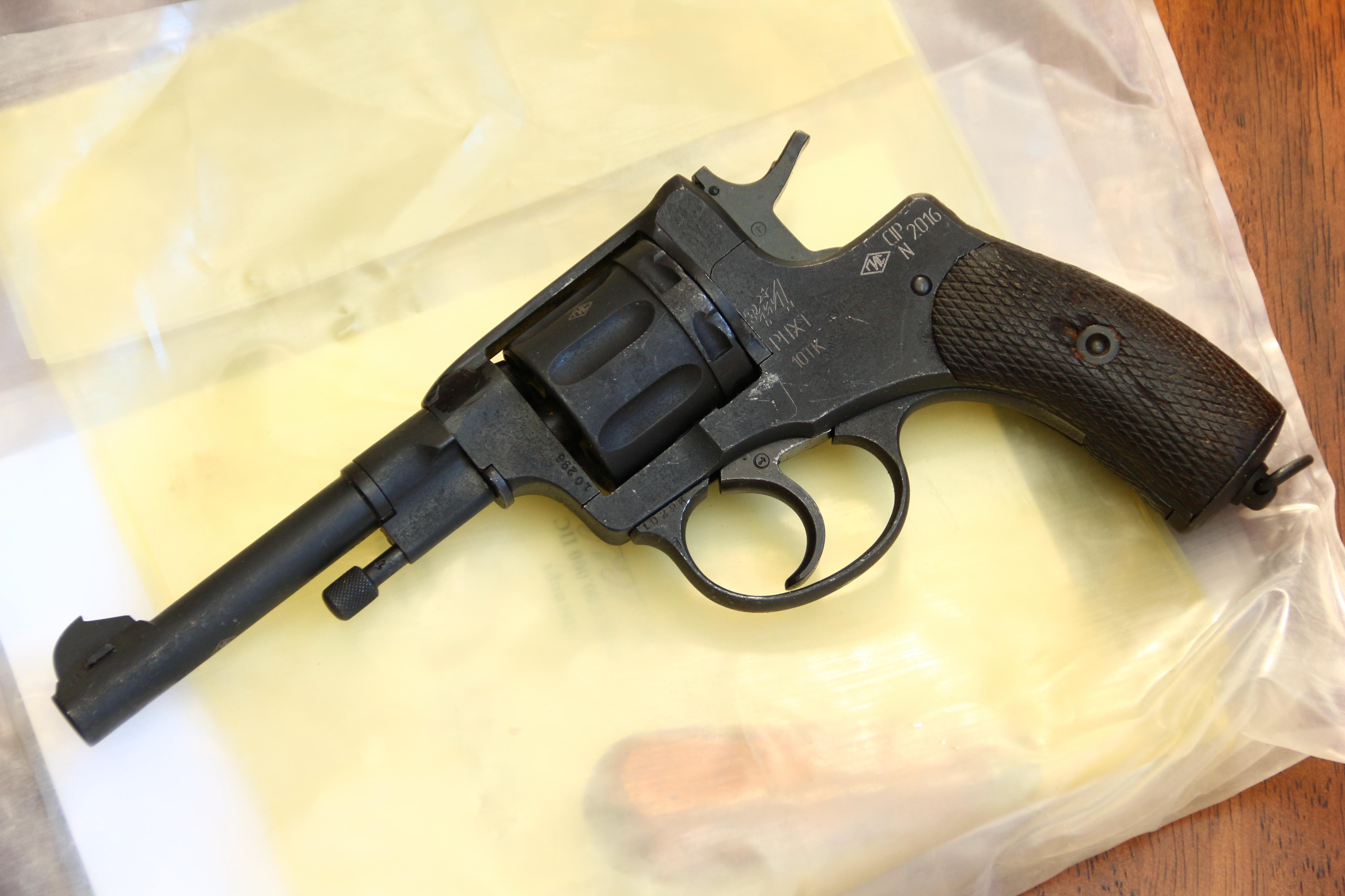 Охолощенный царский револьвер Наган 1913 года №10926, не шлифован
