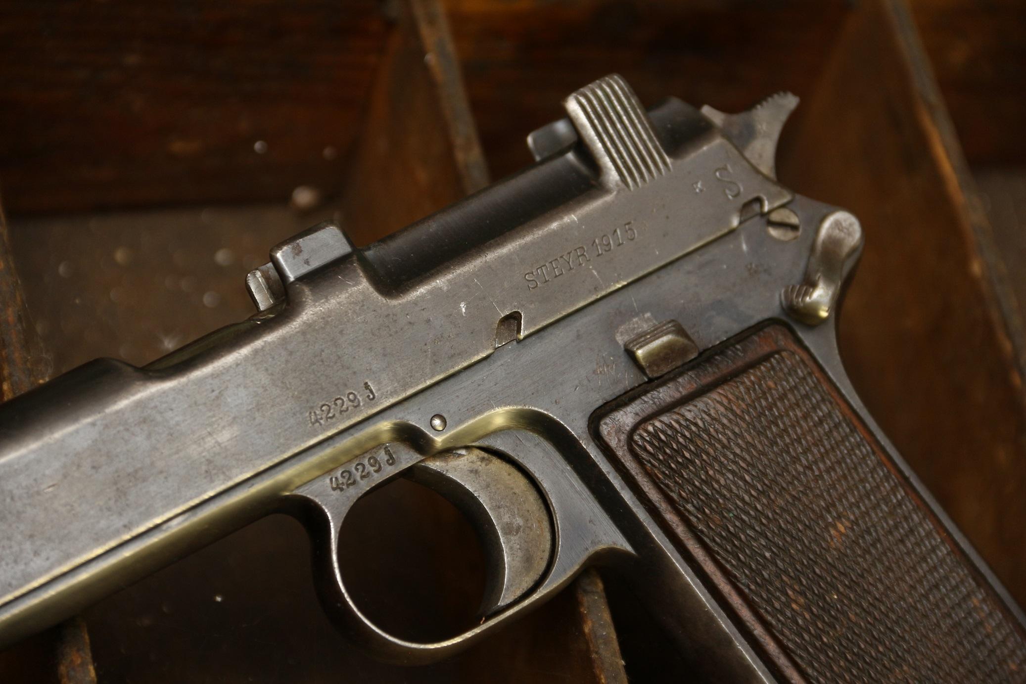 Австрийский пистолет Steyr M1912 #4229j, 1915 год, клеймо 4 уланского полка;