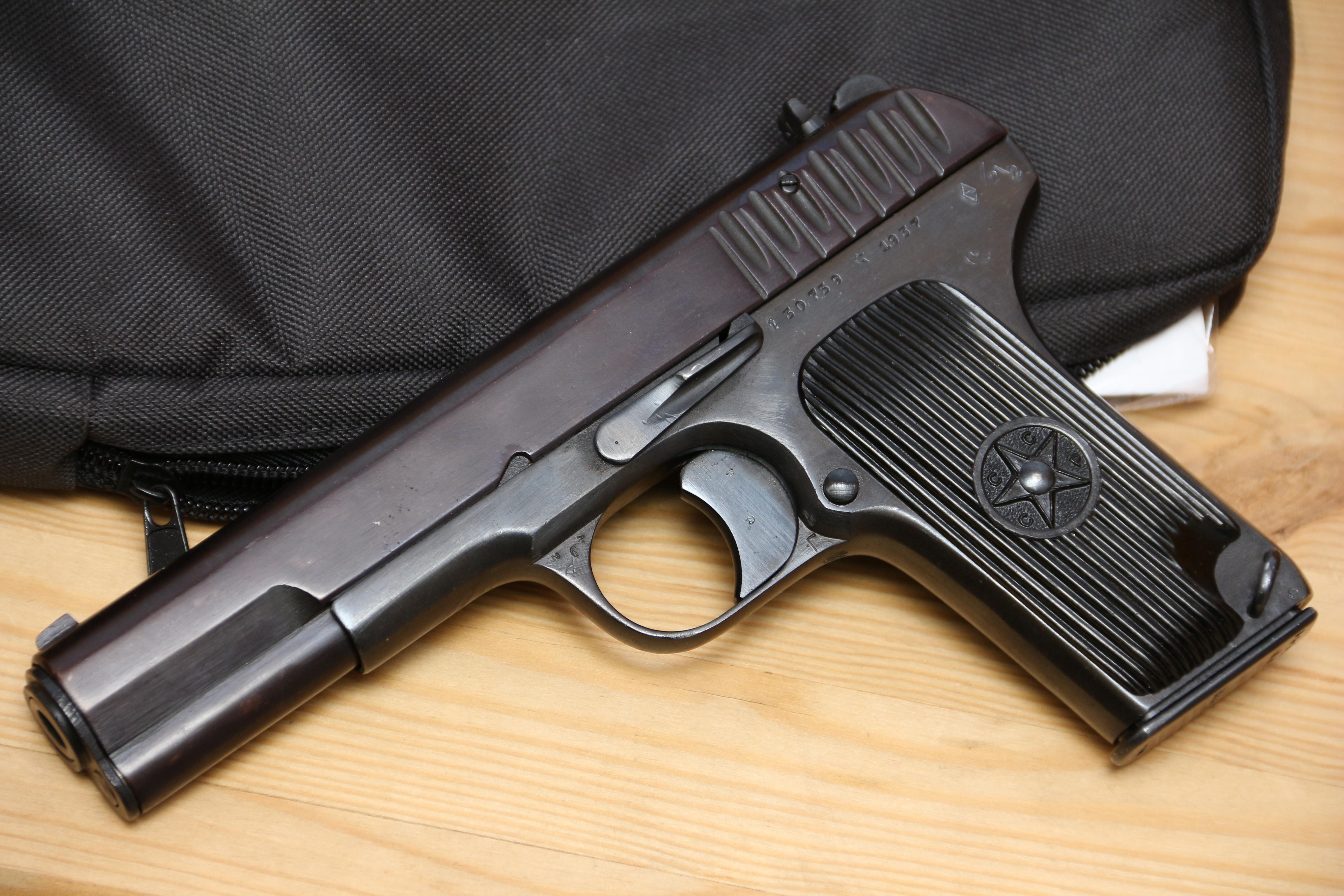 Фото Охолощенный пистолет ТТ-СХ 1937 года, №30759, красный затвор
