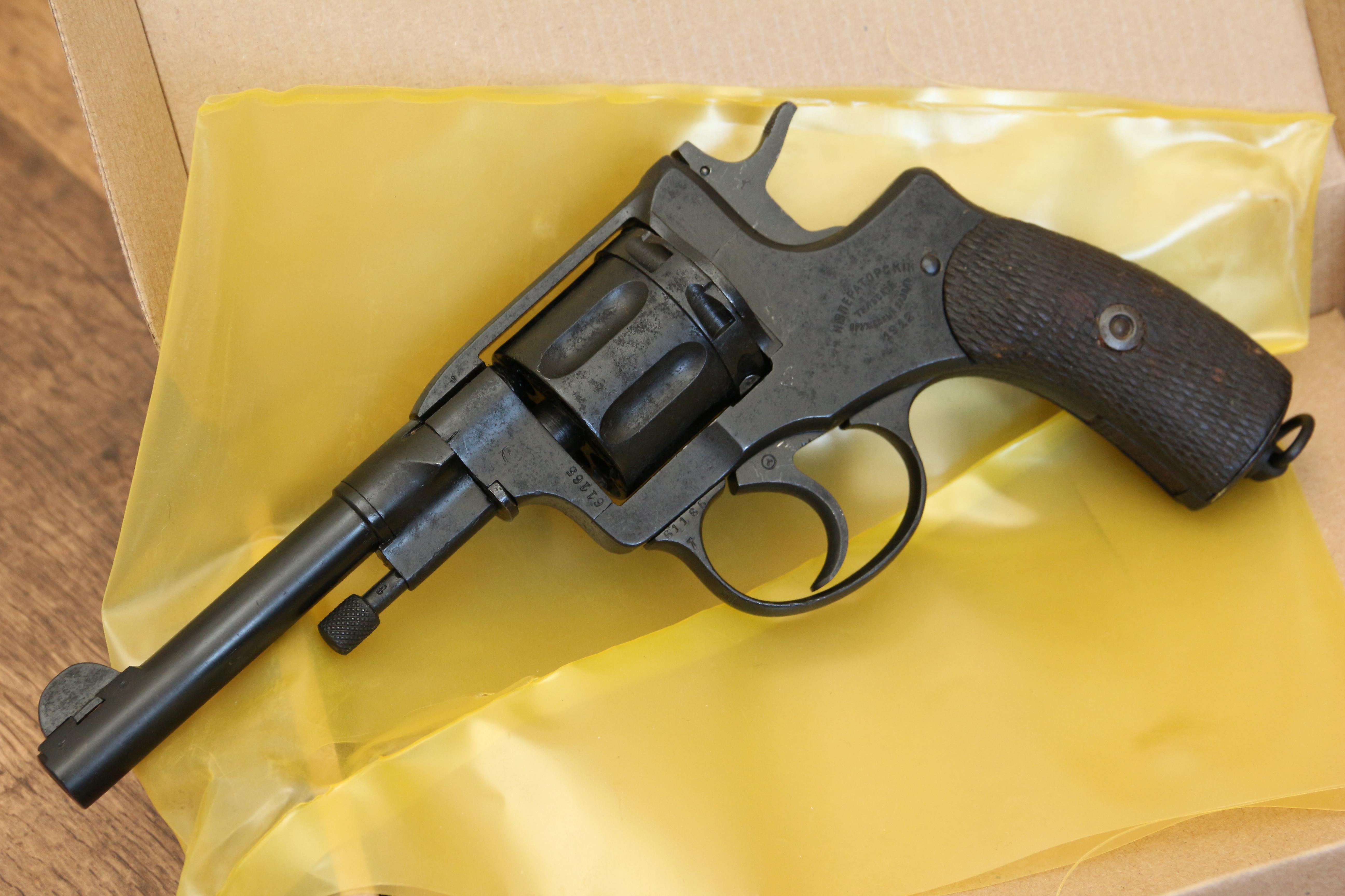 Охолощенный царский револьвер Наган 1912 года, №61185, не шлифован