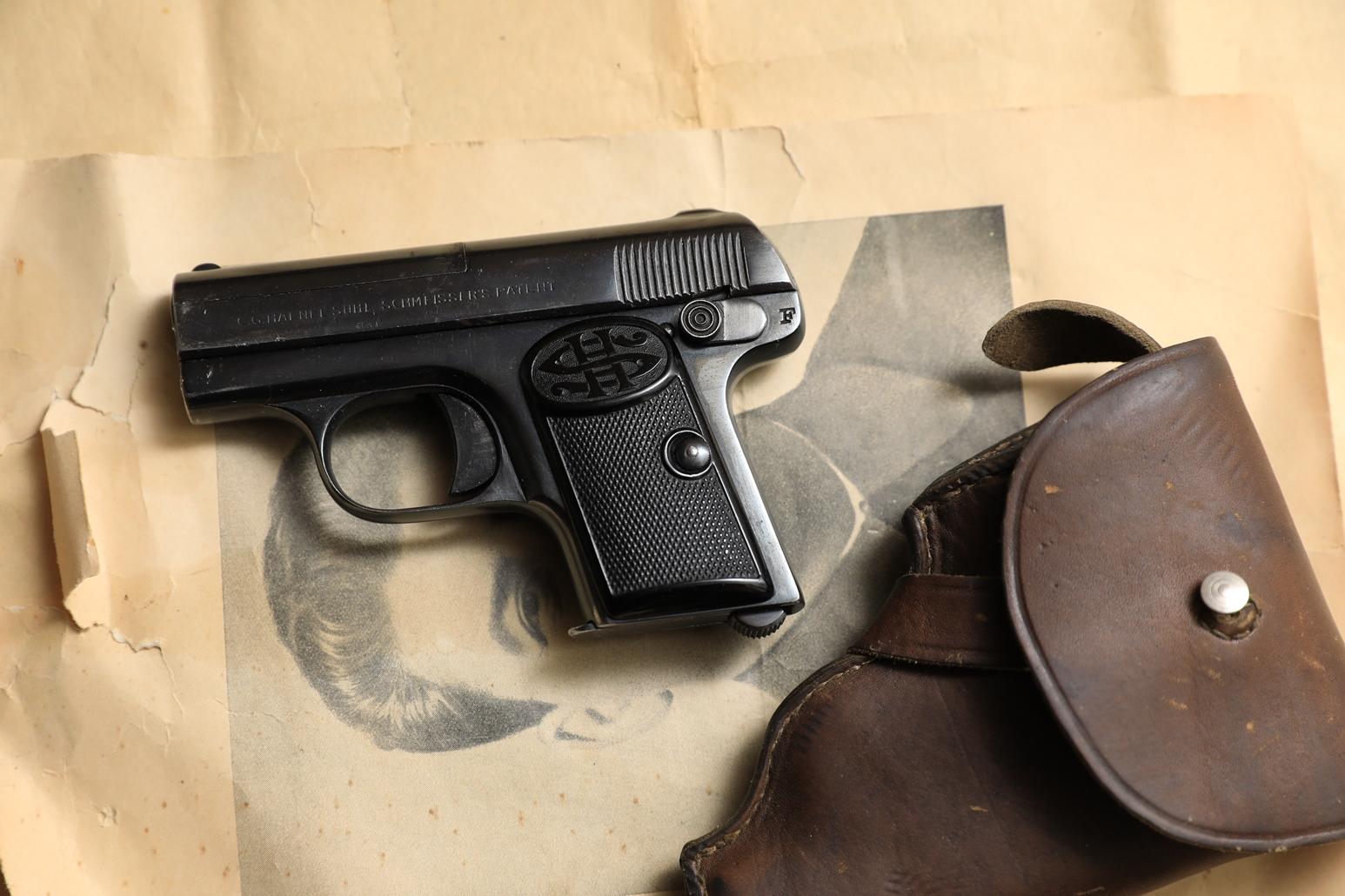 Жилетный пистолет Haenel SUHL-Shmeisser #155402, советская кобура