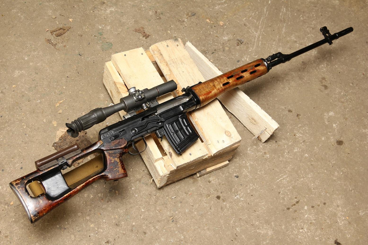 Советская снайперская винтовка Драгунова СВД 1972 года, №Н-755, с «зарубками», в коллекцию