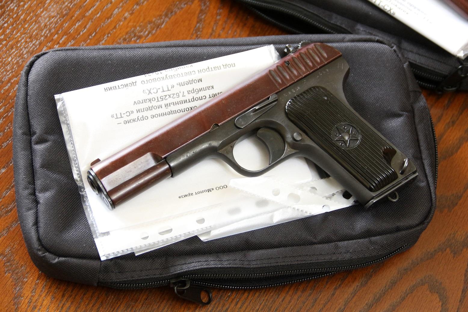 Охолощенный пистолет ТТ-СХ 1937 года, №32802, красный затвор, ДЕАКТИВ 2020 года
